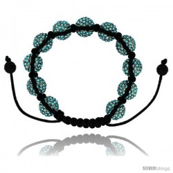 Blue Topaz Color Crystal Disco Ball Adjustable Unisex Macrame Bead Bracelet 1/2 in. (12.5 mm) wide