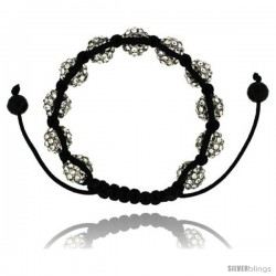 Crystal Disco Ball Adjustable Unisex Macrame Bead Bracelet 3/8 in. (10 mm) wide