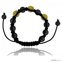 Yellow Color Crystal Disco Ball Adjustable Unisex Macrame Bead Bracelet w/ Hematite Beads, 3/8 in. (10 mm) wide -Style Cbb218