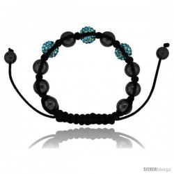 Blue Topaz Color Crystal Disco Ball Adjustable Unisex Macrame Bead Bracelet w/ Hematite Beads, 3/8 in. (10 -Style Cbb219