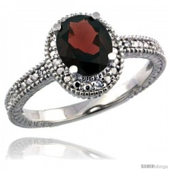 Sterling Silver Diamond Vintage Style Oval Garnet Stone Ring Rhodium Finish, 7x5 mm Oval Cut Gemstone