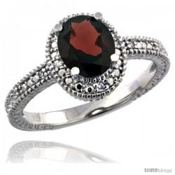 Sterling Silver Diamond Vintage Style Oval Garnet Stone Ring Rhodium Finish, 7x5 mm Oval Cut Gemstone
