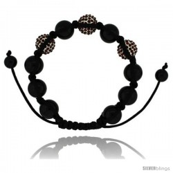 Red Color Crystal Disco Ball Adjustable Unisex Macrame Bead Bracelet w/ Hematite Beads, 1/2 in. (12.5 mm) wide
