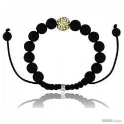 Yellow Color Crystal Disco Ball Adjustable Unisex Macrame Bead Bracelet w/ Hematite Beads, 1/2 in. (12.5 mm) wide