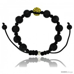 Yellow Color Crystal Disco Ball Adjustable Unisex Macrame Bead Bracelet w/ Hematite Beads, 1/2 in. (12.5 mm) wide -Style Cbb224