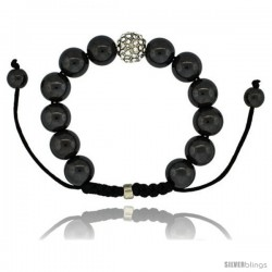 Crystal Disco Ball Adjustable Unisex Macrame Bead Bracelet w/ Hematite Beads, 1/2 in. (12.5 mm) wide