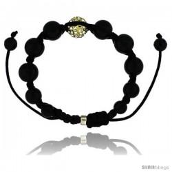 Yellow Color Crystal Disco Ball Adjustable Unisex Macrame Bead Bracelet w/ Hematite Beads, 1/2 in. (12.5 mm) wide -Style Cbb226