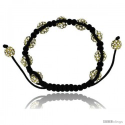 Yellow Color Crystal Disco Ball Adjustable Unisex Macrame Bead Bracelet 3/8 in. (10 mm) wide