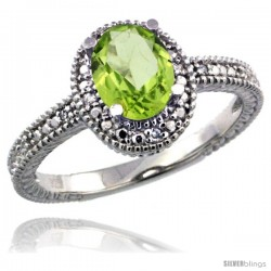 Sterling Silver Diamond Vintage Style Oval Peridot Stone Ring Rhodium Finish, 7x5 mm Oval Cut Gemstone
