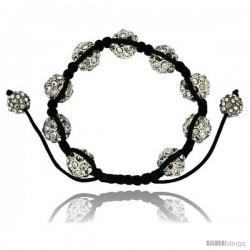 Crystal Disco Ball Adjustable Unisex Macrame Bead Bracelet 1/2 in. (12.5 mm) wide