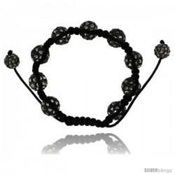 Black Crystal Disco Ball Adjustable Unisex Macrame Bead Bracelet 1/2 in. (12.5 mm) wide