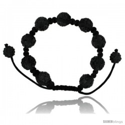Black Crystal Disco Ball Adjustable Unisex Macrame Bead Bracelet 1/2 in. (12.5 mm) wide -Style Cbb233