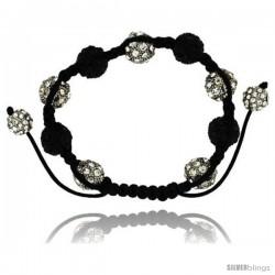 White & Black Crystal Disco Ball Adjustable Unisex Macrame Bead Bracelet 1/2 in. (12.5 mm) wide