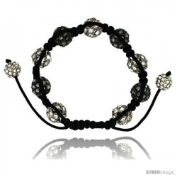 White & Black Crystal Disco Ball Adjustable Unisex Macrame Bead Bracelet 1/2 in. (12.5 mm) wide -Style Cbb235