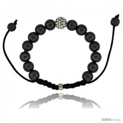 Crystal Disco Ball Adjustable Unisex Macrame Bead Bracelet w/ Hematite Beads, 3/8 in. (10 mm) wide