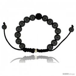 Black Crystal Disco Ball Adjustable Unisex Macrame Bead Bracelet w/ Hematite Beads, 3/8 in. (10 mm) wide -Style Cbb237