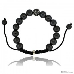 Crystal Disco Ball Adjustable Unisex Macrame Bead Bracelet w/ Hematite Beads, 3/8 in. (10 mm) wide -Style Cbb238