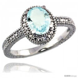 Sterling Silver Diamond Vintage Style Oval Aquamarine Stone Ring Rhodium Finish, 7x5 mm Oval Cut Gemstone