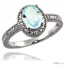 Sterling Silver Diamond Vintage Style Oval Aquamarine Stone Ring Rhodium Finish, 7x5 mm Oval Cut Gemstone