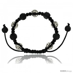 White & Black Crystal Disco Ball Adjustable Unisex Macrame Bead Bracelet w/ Hematite Beads, 3/8 in. (10 mm) wide