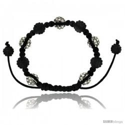Red Crystal Disco Ball Adjustable Unisex Macrame Bead Bracelet w/ Hematite Beads, 3/8 in. (10 mm) wide