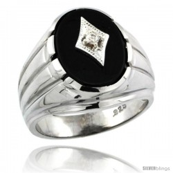 Sterling Silver Gent's Black Onyx Ring Diamond Center Oval Shape Rhodium Finish
