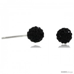 Sterling Silver 6mm Round Black Disco Crystal Ball Stud Earrings