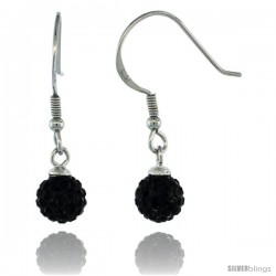 Sterling Silver 6mm Round Black Disco Crystal Ball Fish Hook Earrings, 1 1/16 in. (27 mm) tall