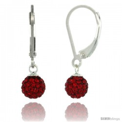 Sterling Silver 6mm Round Red Disco Crystal Ball Lever Back Earrings, 1 in. (25 mm) tall