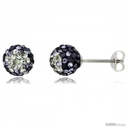 Sterling Silver Crystal Disco Ball Stud Earrings (8mm Round), Clear & Purple Color -Style Cbe08102