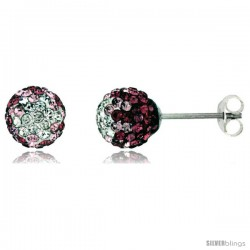 Sterling Silver Crystal Disco Ball Stud Earrings (8mm Round), Clear & Pink Color