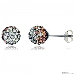 Sterling Silver Crystal Disco Ball Stud Earrings (8mm Round), Clear & Peach Color
