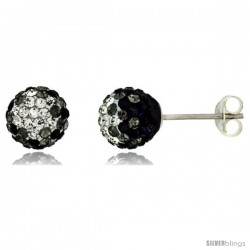 Sterling Silver Crystal Disco Ball Stud Earrings (8mm Round), Clear & Black
