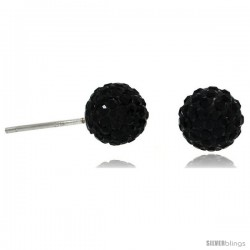 Sterling Silver 8mm Round Black Disco Crystal Ball Stud Earrings