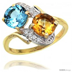 14k Gold ( 7 mm ) Double Stone Engagement Swiss Blue Topaz & Citrine Ring w/ 0.05 Carat Brilliant Cut Diamonds & 2.34 Carats