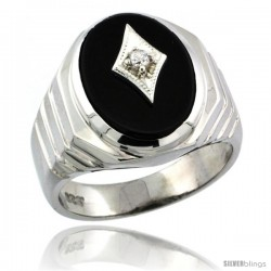 Sterling Silver Gent's Black Onyx Ring Diamond Center Oval Shape Rhodium Finish -Style Rdia802