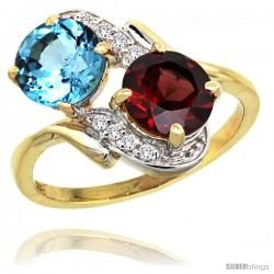 14k Gold ( 7 mm ) Double Stone Engagement Swiss Blue Topaz & Garnet Ring w/ 0.05 Carat Brilliant Cut Diamonds & 2.34 Carats