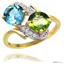 14k Gold ( 7 mm ) Double Stone Engagement Swiss Blue Topaz & Peridot Ring w/ 0.05 Carat Brilliant Cut Diamonds & 2.34 Carats