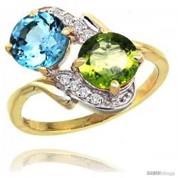 14k Gold ( 7 mm ) Double Stone Engagement Swiss Blue Topaz & Peridot Ring w/ 0.05 Carat Brilliant Cut Diamonds & 2.34 Carats