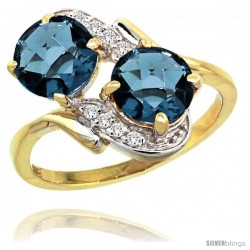 14k Gold ( 7 mm ) Double Stone Engagement London Blue Topaz Ring w/ 0.05 Carat Brilliant Cut Diamonds & 2.34 Carats Round