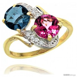 14k Gold ( 7 mm ) Double Stone Engagement London Blue & Pink Topaz Ring w/ 0.05 Carat Brilliant Cut Diamonds & 2.34 Carats