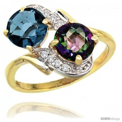 14k Gold ( 7 mm ) Double Stone Engagement London Blue & Mystic Topaz Ring w/ 0.05 Carat Brilliant Cut Diamonds & 2.34 Carats