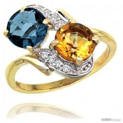 14k Gold ( 7 mm ) Double Stone Engagement London Blue Topaz & Citrine Ring w/ 0.05 Carat Brilliant Cut Diamonds & 2.34 Carats