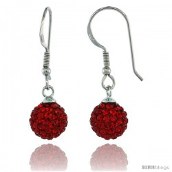 Sterling Silver 8mm Round Red Disco Crystal Ball Fish Hook Earrings, 1 1/4 in. (31 mm) tall, 1 1/16 in. (27 mm) tall
