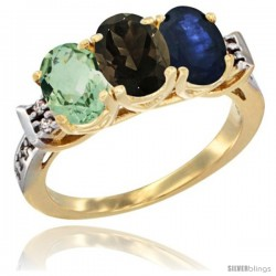 10K Yellow Gold Natural Green Amethyst, Smoky Topaz & Blue Sapphire Ring 3-Stone Oval 7x5 mm Diamond Accent