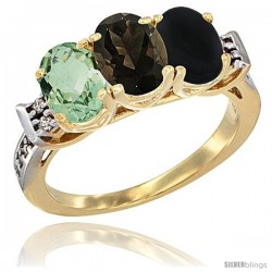 10K Yellow Gold Natural Green Amethyst, Smoky Topaz & Black Onyx Ring 3-Stone Oval 7x5 mm Diamond Accent