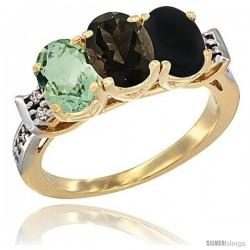 10K Yellow Gold Natural Green Amethyst, Smoky Topaz & Black Onyx Ring 3-Stone Oval 7x5 mm Diamond Accent