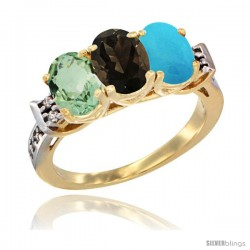 10K Yellow Gold Natural Green Amethyst, Smoky Topaz & Turquoise Ring 3-Stone Oval 7x5 mm Diamond Accent