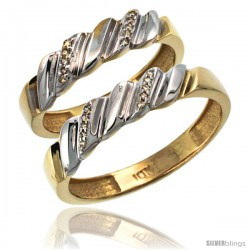 14k Gold 2-Pc His (5mm) & Hers (5mm) Diamond Wedding Ring Band Set w/ 0.126 Carat Brilliant Cut Diamonds