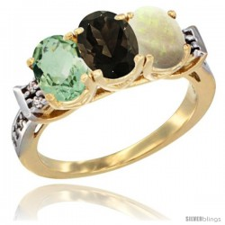 10K Yellow Gold Natural Green Amethyst, Smoky Topaz & Opal Ring 3-Stone Oval 7x5 mm Diamond Accent